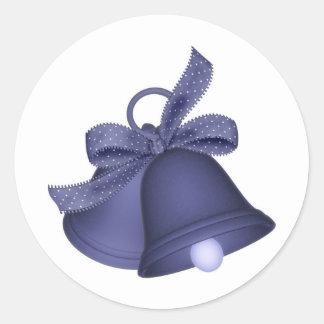 purple bells round sticker