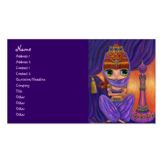 Purple Belly Dancer Genie Girl with Magic Bottle Double-Sided Standard Business Cards (Pack Of 100)