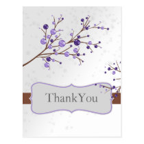 purple berries elegant winter wedding Thank You Postcard