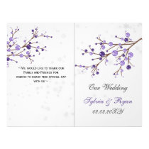 purple berries winter bi fold Wedding program