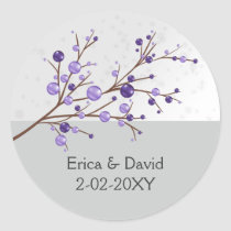 purple berries  winter wedding favor stickers