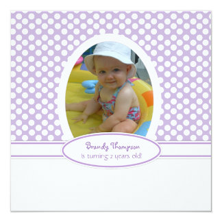 Purple Berry and White Polka Dot Party Invitation