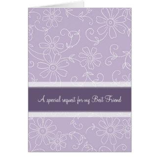 Purple Best Friend Bridesmaid Invitation Card