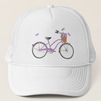 Purple Bicycle and Buterflies Trucker Hat