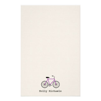 Purple Bicycle Personalized Stationery