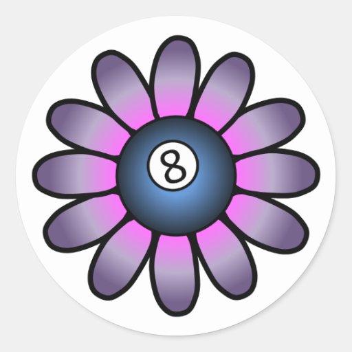Purple Billiards Girl Round Sticker