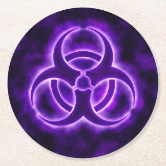 Purple Biohazard Symbol Round Paper Coaster