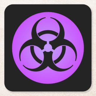 Purple Biohazard Symbol Square Paper Coaster