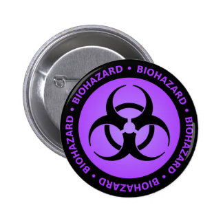 Purple Biohazard Warning Pinback Button