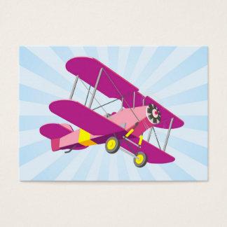 Purple Biplane Graphic with Blue Star Burst Business Card