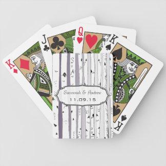 Purple Birch Love Birds Wedding Gift Playing Card