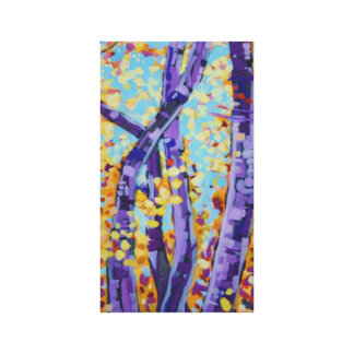 Purple birch tree painting stretched canvas print
