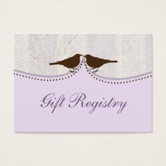purple bird cage, love birds Gift registry  Cards