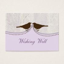 purple bird cage, love birds wishing well cards