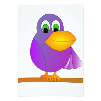 Purple bird cartoon custom invite