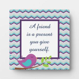 Purple Bird Chevron Friend Plaque