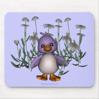 Purple Bird Daisy Flowers Cute Mousepad