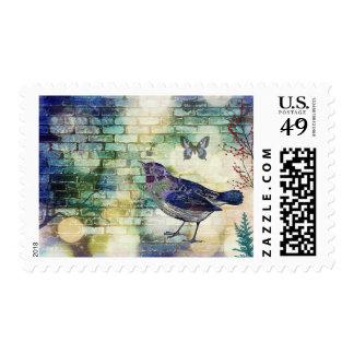 Purple Bird Design Stamps