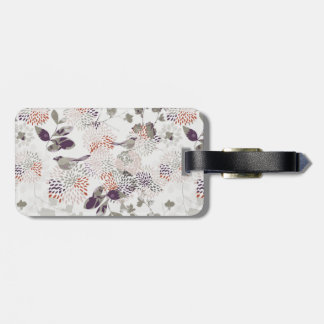 Purple birds and flowers wallpaper bag tag
