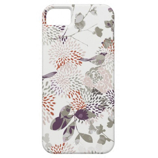 Purple birds and flowers wallpaper iPhone 5 case