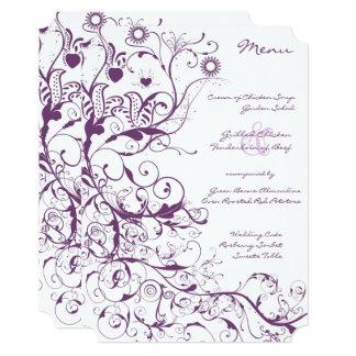 Purple  Birds and Swirls Wedding Menu Card