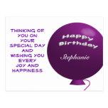 Purple Birthday Balloon Postcard