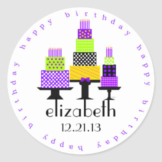 Purple Birthday Cakes-Happy Birthday Stickers
