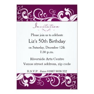 "Purple Birthday Invitation 5"" X 7"" Invitation Card"