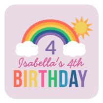 Purple Birthday Party Favor | Rainbow Colors Square Sticker