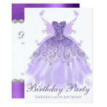 Purple Birthday Party Glam Sparkle Gown Pixie Wing Card