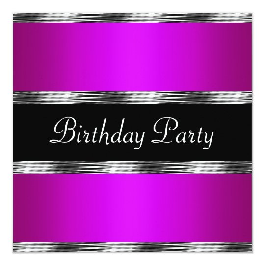 Purple  Birthday Party Silver Card