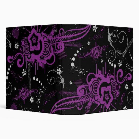 purple black abstract floral swirls avery binder