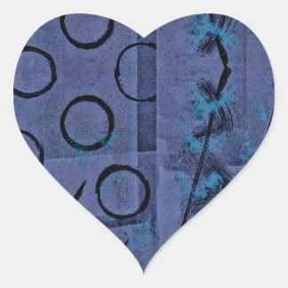 Purple Black Abstract Heart Sticker