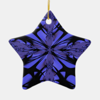 Purple Black Abstract Star Ornament