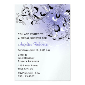 Purple Black Abstract Swirls Bridal Shower Invitat Card
