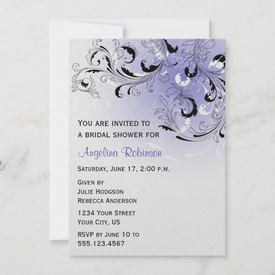 Purple Black Abstract Swirls Bridal Shower Invitat Invitation