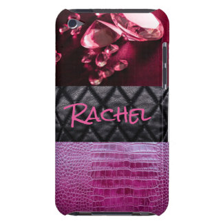 Purple Black Alligato Leather Diamonds Typography Barely There iPod Case