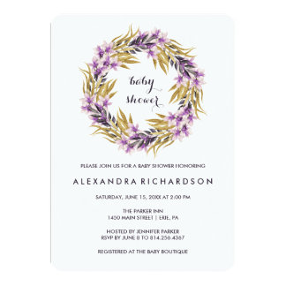 Purple Black and Gold Magnolia Flowers Baby Shower Card