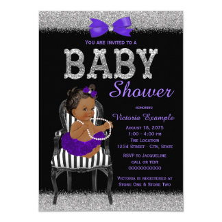 Purple Black and Silver Ethnic Girl Baby Shower Card
