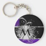 Purple black and silver basic round button keychain