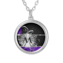 Purple black and silver silver plated necklace
