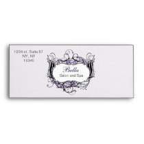 purple, black and white Chic Business envelopes