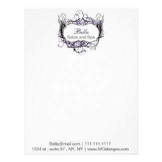 purple, black and white Chic Business letterheads Letterhead