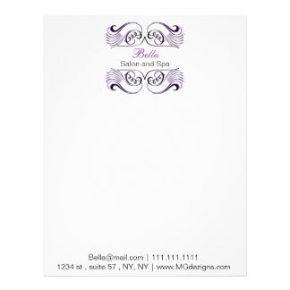 Purple black and white Chic Business letterheads Letterhead