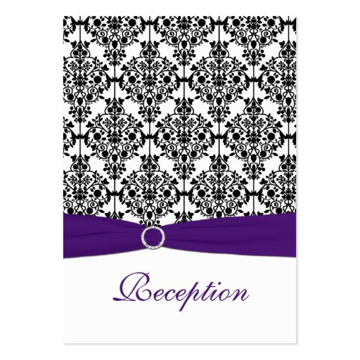 Purple, Black and White Damask Reception Card Business Card Template