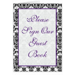 Purple, Black and White Damask Table Card Card