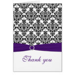 Purple, Black, and White Damask Thank You Card Greeting Cards