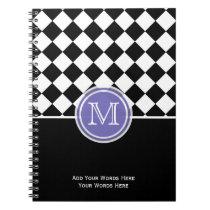 Purple Black And White Diamond Monogram Notebook