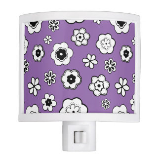 Purple, Black and White Floral Night Light