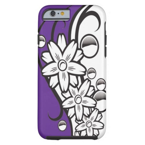 Purple Black And White Floral Pattern Tough iPhone 6 Case